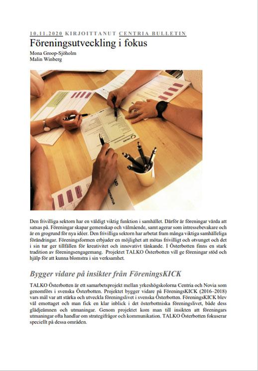 TALKO Österbotten artikel föreningsutveckling i fokus