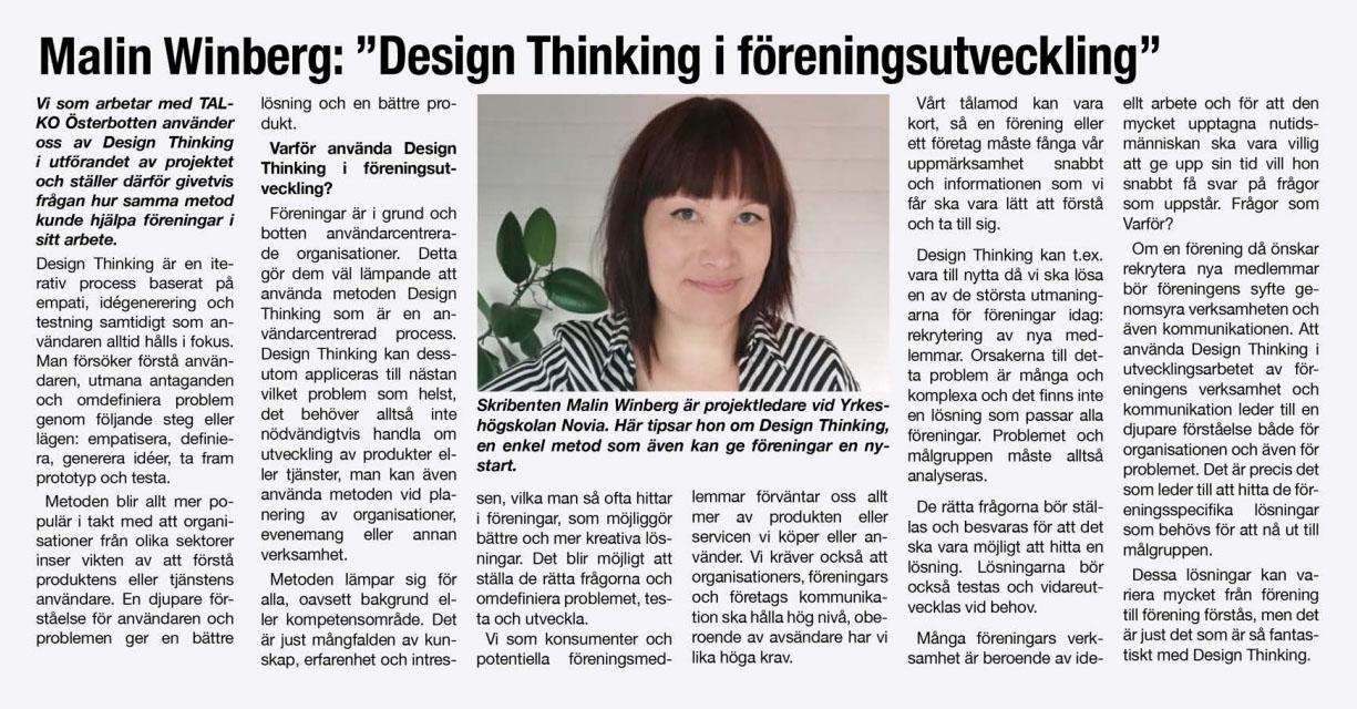 TALKO Österbotten design thinking i föreningsutveckling